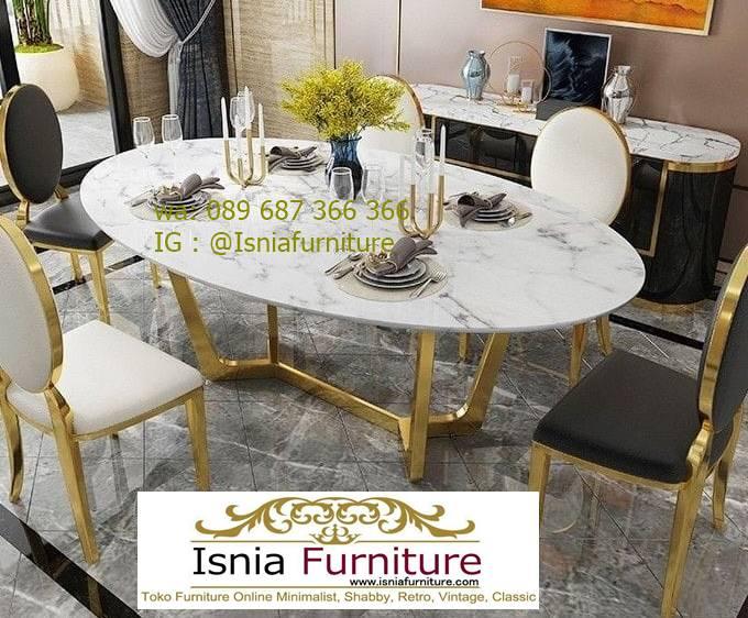 meja-makan-marmer-bentuk-oval-desain-kaki-stainless-gold Kaki Meja Makan Marmer Minimalis Harga Murah Terbaru