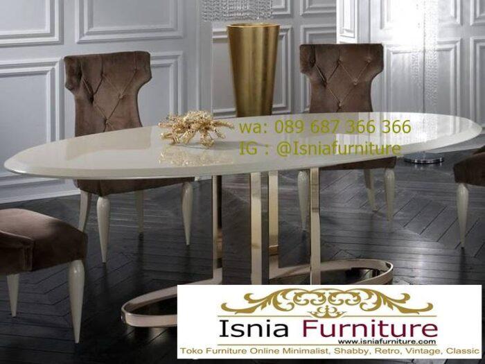 meja-makan-marmer-desain-bentuk-oval-kaki-stainless-700x525 Kaki Meja Makan Marmer Minimalis Harga Murah Terbaru