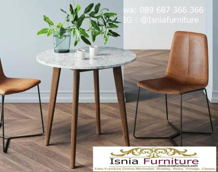 meja-marmer-bundar-desain-kaki-kayu-unik-700x553 Harga Meja Marmer Bundar Murah Kualitas Terbaik