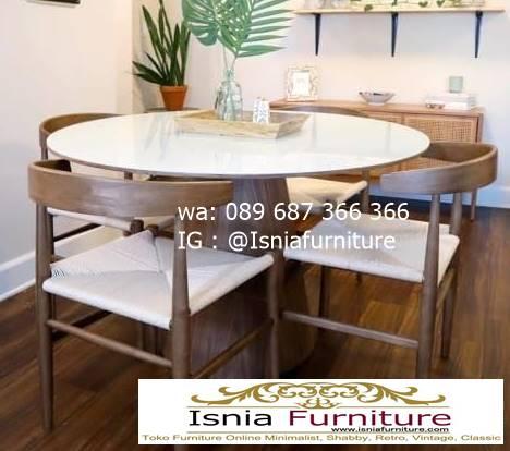 meja-marmer-bundar-untuk-meja-makan-desain-kaki-kayu-terbaru Harga Meja Marmer Bundar Murah Kualitas Terbaik