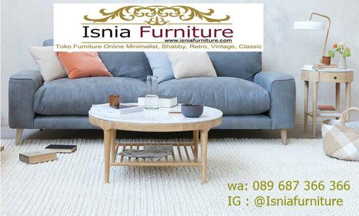 meja-marmer-ruang-tamu-dengan-meja-tamu-bentuk-bulat-kaki-kayu-700x422 Model Meja Marmer Ruang Tamu Harga Murah Berkualitas