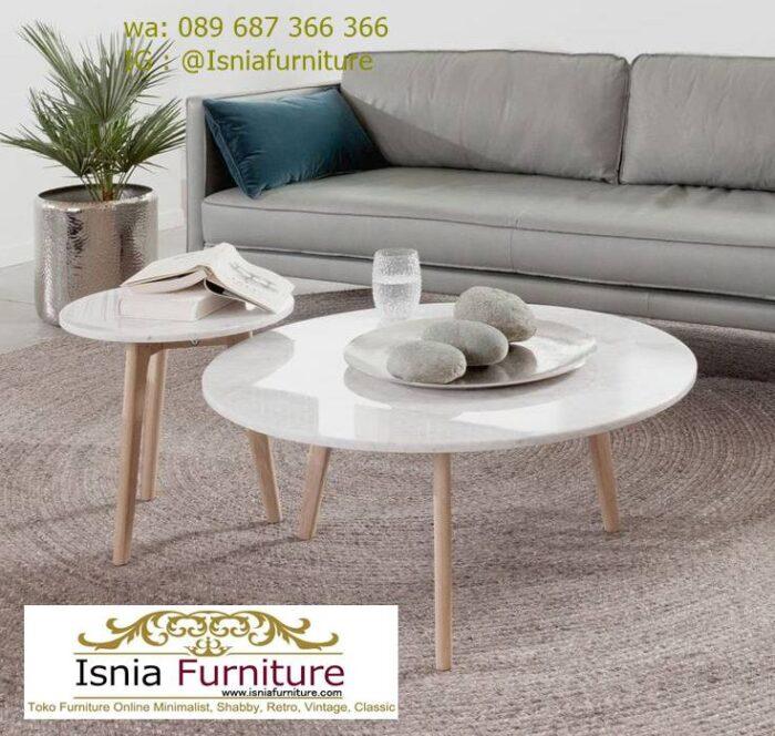 meja-tamu-marmer-minimalis-bentuk-bulat-kaki-kayu-700x664 Jual Meja Tamu Marmer Minimalis Modern Harga Murah