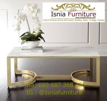 meja-tamu-marmer-minimalis-desain-kaki-stainless-emas Jual Meja Tamu Marmer Minimalis Modern Harga Murah