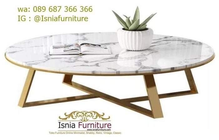 meja-tamu-marmer-minimalis-model-bulat-kaki-stainless-700x450 Jual Meja Tamu Marmer Minimalis Modern Harga Murah