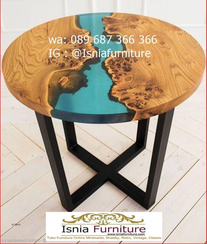 meja-bulat-kayu-trembesi-model-resin-unik-700x825 Jual Meja Resin Bulat Kayu Solid Murah Kekinian