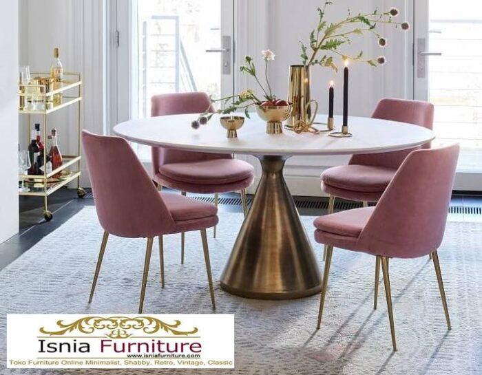 meja-makan-granit-putih-bentuk-bulat-desain-kaki-stainless-700x545 Harga Meja Makan Granit Putih Minimalis Murah Kekinian