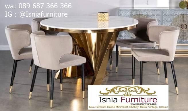 meja-makan-granit-putih-bentuk-bulat-desain-kaki-stainless-gold Harga Meja Makan Granit Putih Minimalis Murah Kekinian