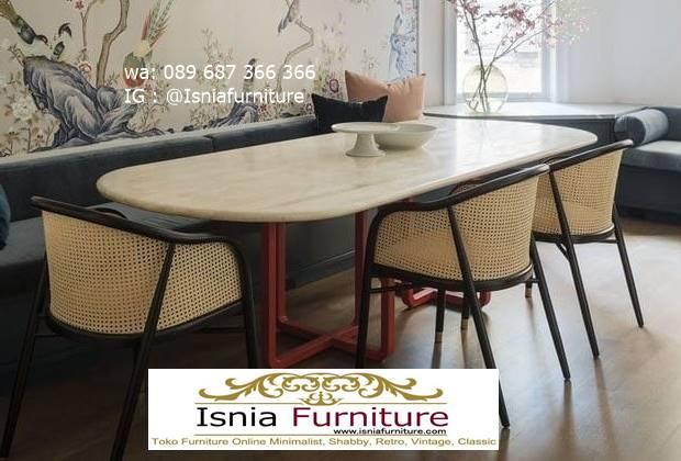 meja-makan-granit-putih-desain-kaki-besi-harga-terjangkau Harga Meja Makan Granit Putih Minimalis Murah Kekinian