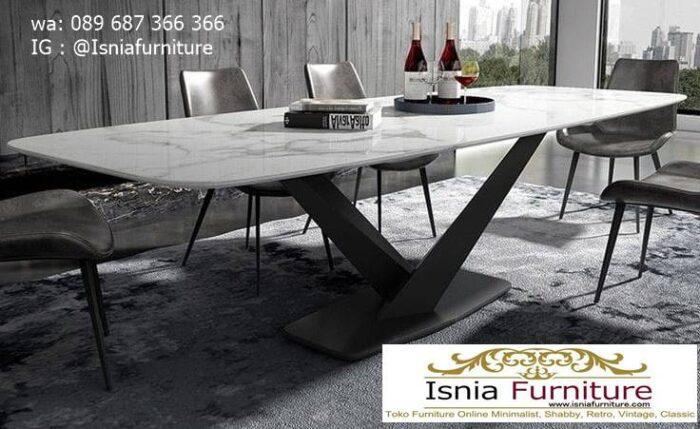 meja-makan-granit-putih-desain-kaki-besi-minimalis-murah-700x429 Harga Meja Makan Granit Putih Minimalis Murah Kekinian