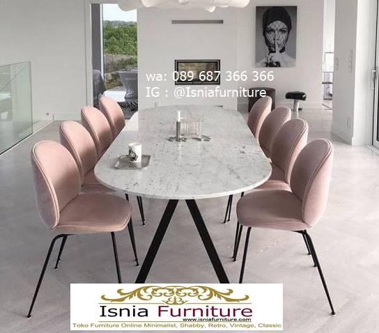 meja-makan-granit-putih-desain-kaki-besi-minimalis Harga Meja Makan Granit Putih Minimalis Murah Kekinian