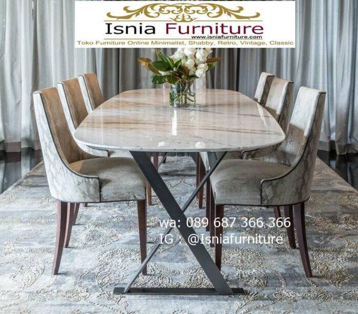meja-makan-granit-putih-desain-kaki-besi-murah-700x613 Harga Meja Makan Granit Putih Minimalis Murah Kekinian