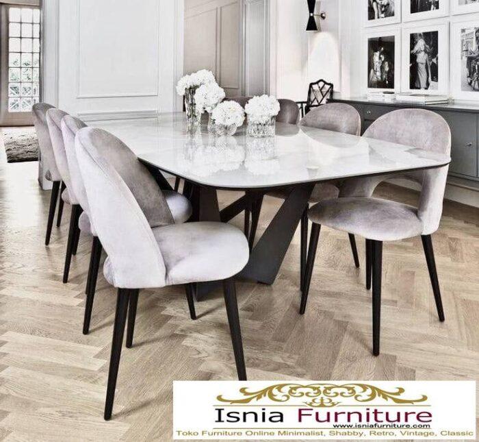 meja-makan-granit-putih-desain-kaki-besi-unik-700x645 Harga Meja Makan Granit Putih Minimalis Murah Kekinian