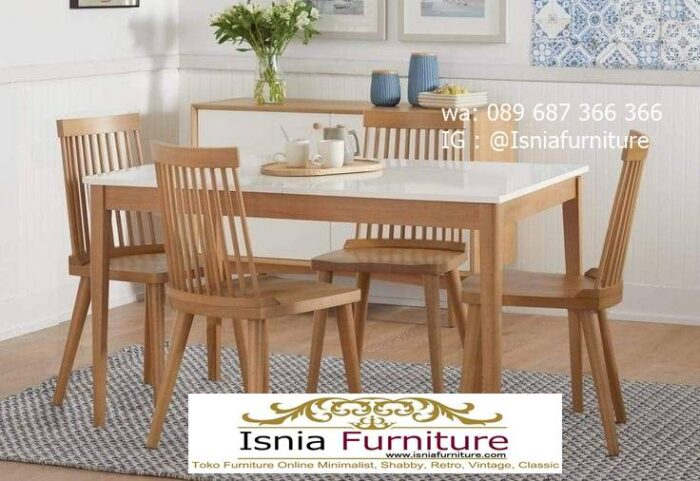meja-makan-granit-putih-desain-kaki-kayu-minimalis-700x481 Harga Meja Makan Granit Putih Minimalis Murah Kekinian