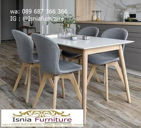 meja-makan-granit-putih-desain-kaki-kayu-minimalis-unik Harga Meja Makan Granit Putih Minimalis Murah Kekinian