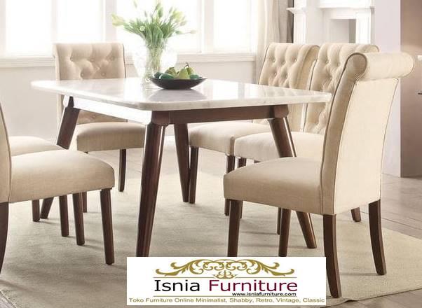 meja-makan-granit-putih-desain-kaki-kayu-solid-harga-murah Harga Meja Makan Granit Putih Minimalis Murah Kekinian