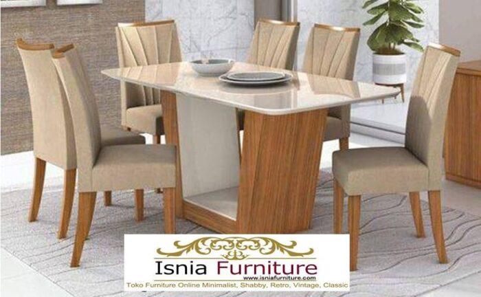 meja-makan-granit-putih-desain-kaki-kayu-solid-minimalis-700x432 Harga Meja Makan Granit Putih Minimalis Murah Kekinian
