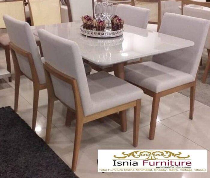 meja-makan-granit-putih-desain-kaki-kayu-solid-terbaru-700x595 Harga Meja Makan Granit Putih Minimalis Murah Kekinian