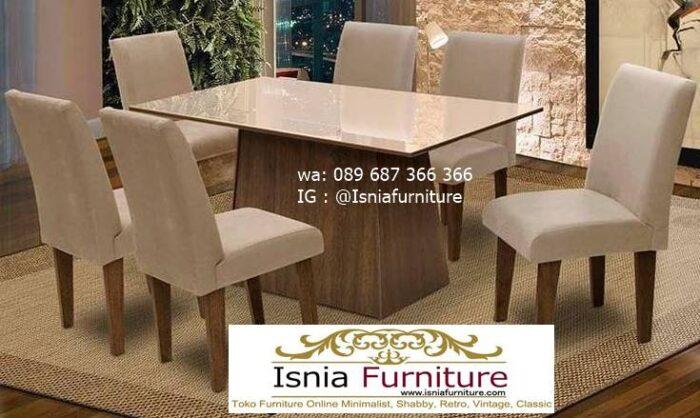 meja-makan-granit-putih-desain-kaki-kayu-solid-terbaru-harga-terjangkau-700x418 Harga Meja Makan Granit Putih Minimalis Murah Kekinian
