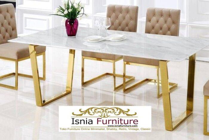 meja-makan-granit-putih-desain-kaki-stainless-steel-700x469 Harga Meja Makan Granit Putih Minimalis Murah Kekinian