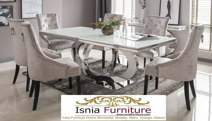 meja-makan-granit-putih-desain-kaki-stainless-steel-mewah Harga Meja Makan Granit Putih Minimalis Murah Kekinian
