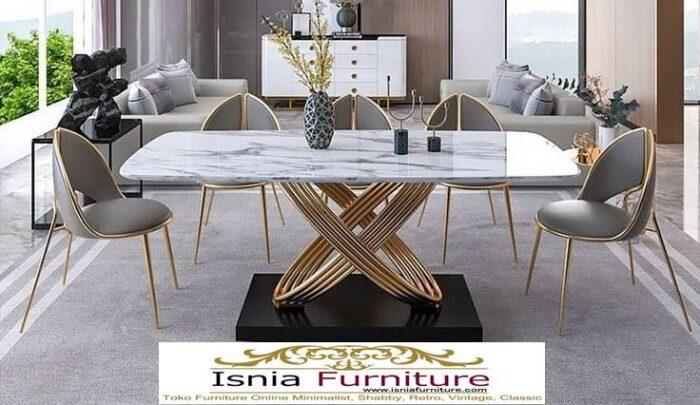 meja-makan-granit-putih-desain-kaki-stainless-unik-mewah-700x405 Harga Meja Makan Granit Putih Minimalis Murah Kekinian