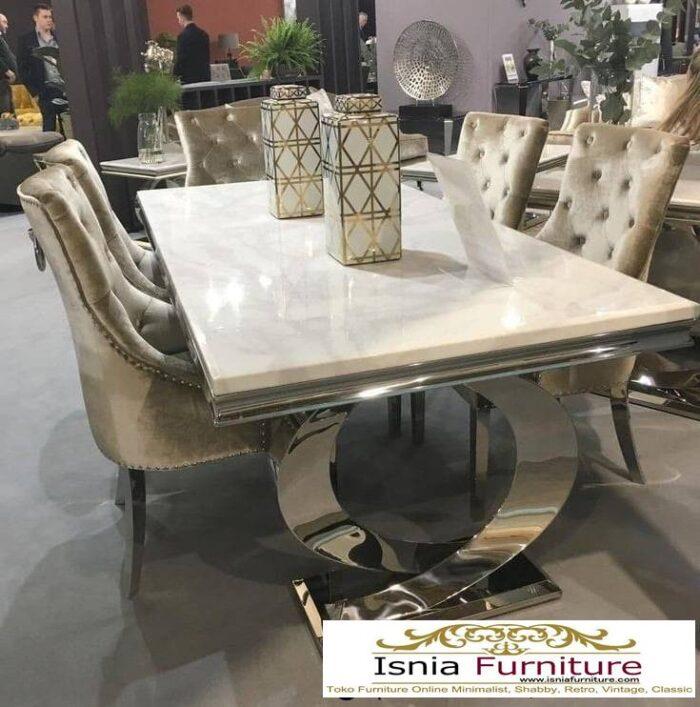 meja-makan-granit-putih-kaki-stainless-steel-700x707 Harga Meja Makan Granit Putih Minimalis Murah Kekinian