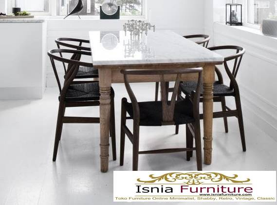 meja-makan-granit-putih-terbaru-harga-terjangkau-desain-kaki-kayu Harga Meja Makan Granit Putih Minimalis Murah Kekinian