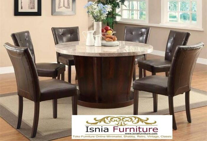 meja-makan-marmer-asli-bentuk-bulat-desain-kaki-kayu-solid-terbaru-700x476 Meja Makan Marmer Asli Minimalis Mewah Kekinian