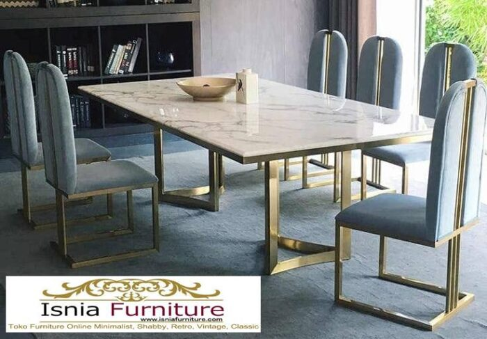 meja-makan-marmer-asli-desain-kaki-stainless-gold-700x487 Meja Makan Marmer Asli Minimalis Mewah Kekinian