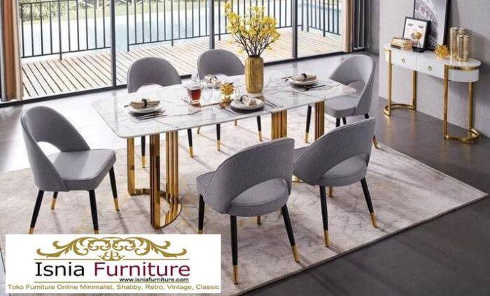 meja-makan-marmer-asli-desain-kaki-stainless-mewah-700x424 Meja Makan Marmer Asli Minimalis Mewah Kekinian