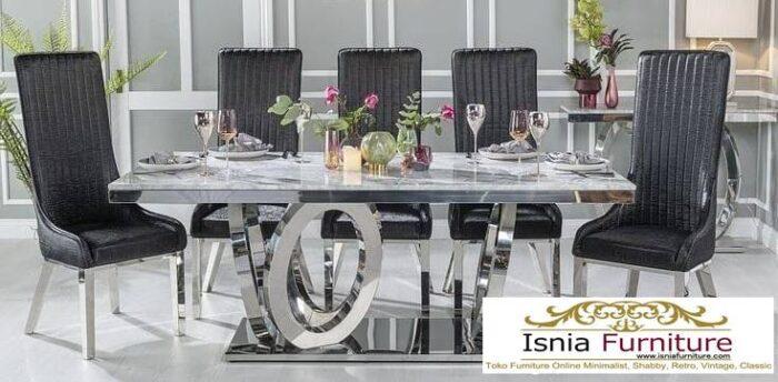meja-makan-marmer-asli-desain-kaki-stainless-steel-700x344 Meja Makan Marmer Asli Minimalis Mewah Kekinian