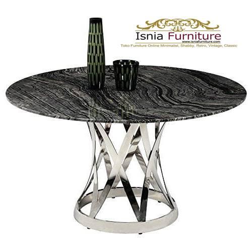 meja-makan-marmer-bulat-desain-marmer-hitam-kaki-stainless Harga Jual Meja Marmer Besar Modern Murah Terpopuler