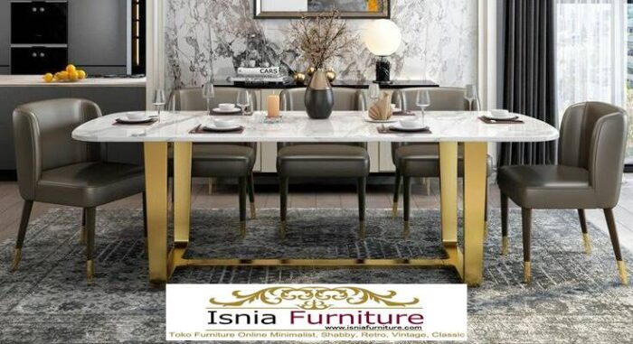 meja-marmer-asli-untuk-meja-makan-desain-kaki-stainless-1-700x381 Meja Makan Marmer Asli Minimalis Mewah Kekinian