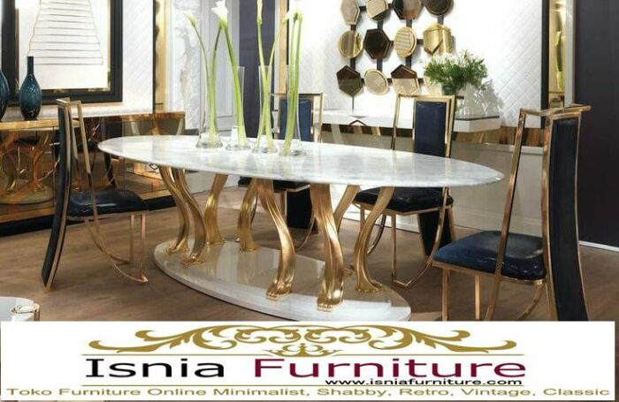 meja-marmer-besar-untuk-meja-makan-desain-kaki-stainless-700x455 Harga Jual Meja Marmer Besar Modern Murah Terpopuler