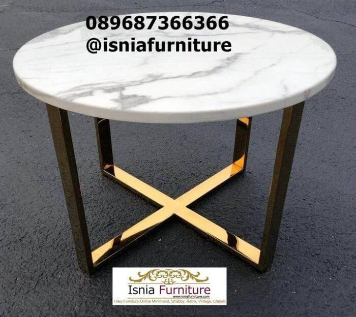 meja-marmer-kecil-bentuk-bulat-kaki-stainless-emas-700x624 Harga Jual Meja Marmer Besar Modern Murah Terpopuler