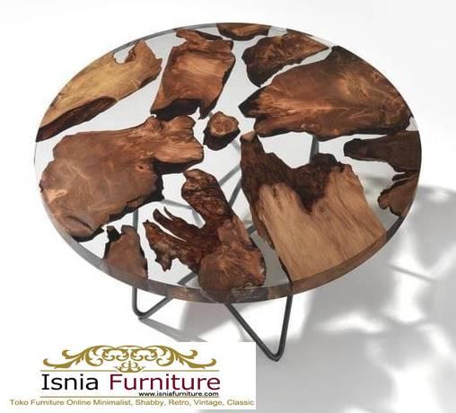 meja-resin-bening-epoxy-bentuk-bulat-kaki-besi-unik-1 Jual Meja Resin Unik Antik Modern Terlaris Harga Murah