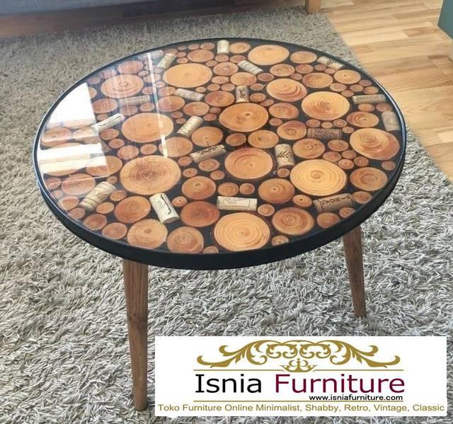 meja-resin-bulat-desain-kaki-kayu-unik-minimalis Jual Meja Resin Bulat Kayu Solid Murah Kekinian
