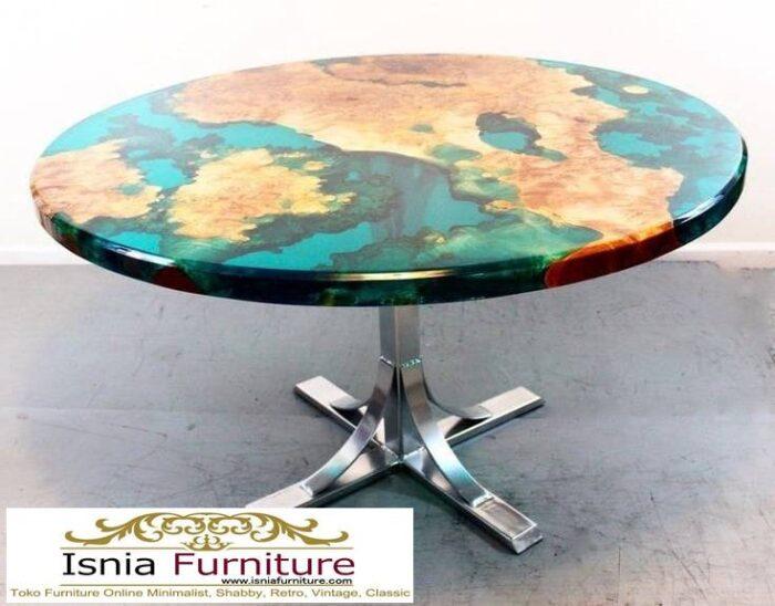 meja-resin-bulat-desain-kaki-stainless-700x548 Jual Meja Resin Bulat Kayu Solid Murah Kekinian