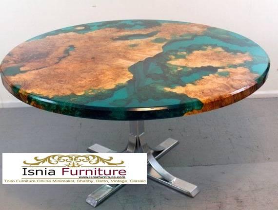 meja-resin-bulat-kaki-stainless-unik-murah Jual Meja Resin Bulat Kayu Solid Murah Kekinian