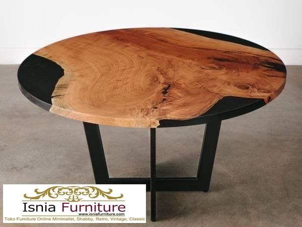 meja-resin-bulat-kayu-solid-desain-kaki-besi Jual Meja Resin Bulat Kayu Solid Murah Kekinian