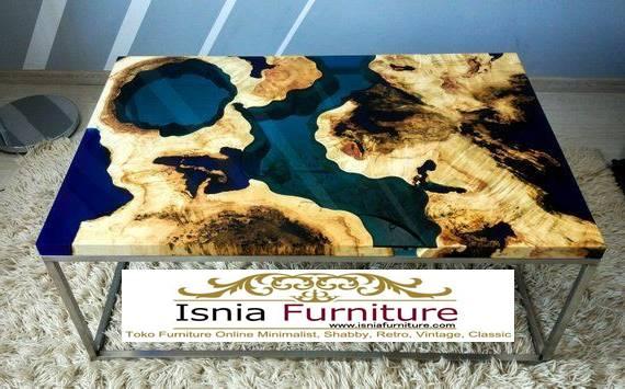 meja-resin-jepara-desain-kaki-besi-stainless Jual Meja Resin Jepara Kayu Solid Minimalis Modern