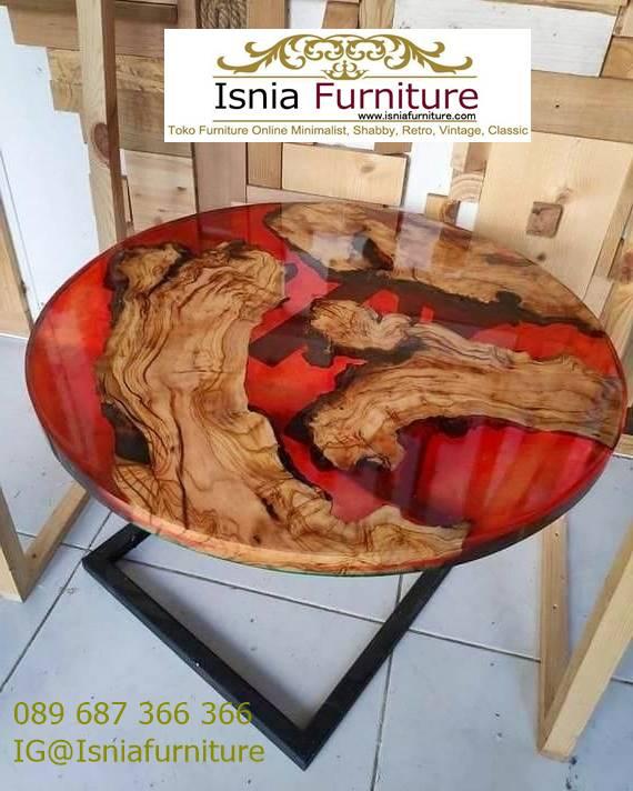 meja-resin-kayu-jati-antik-model-bulat Harga Jual Meja Resin Menyala Murah Terbaru Terlaris