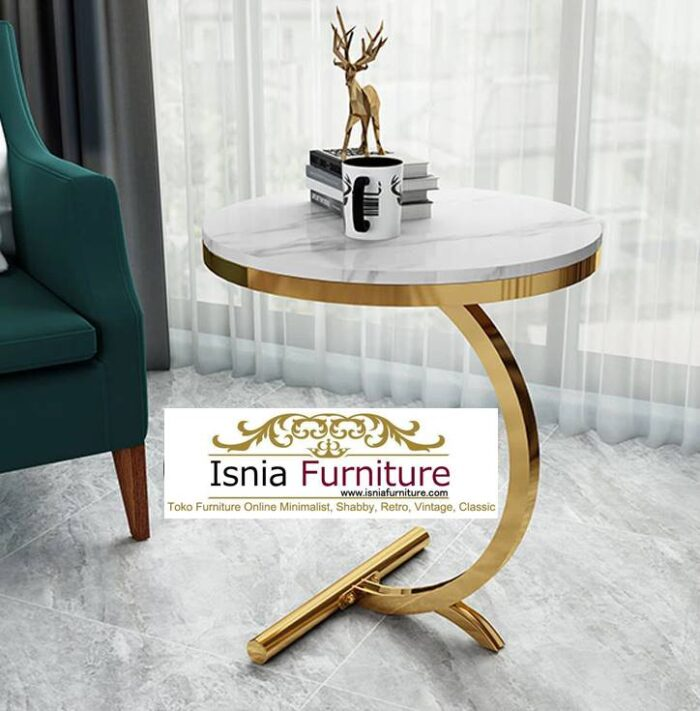 meja-sudut-marmer-desain-kaki-stainless-gold-700x711 Jual Meja Sudut Marmer Modern Terlaris Harga Terjangkau