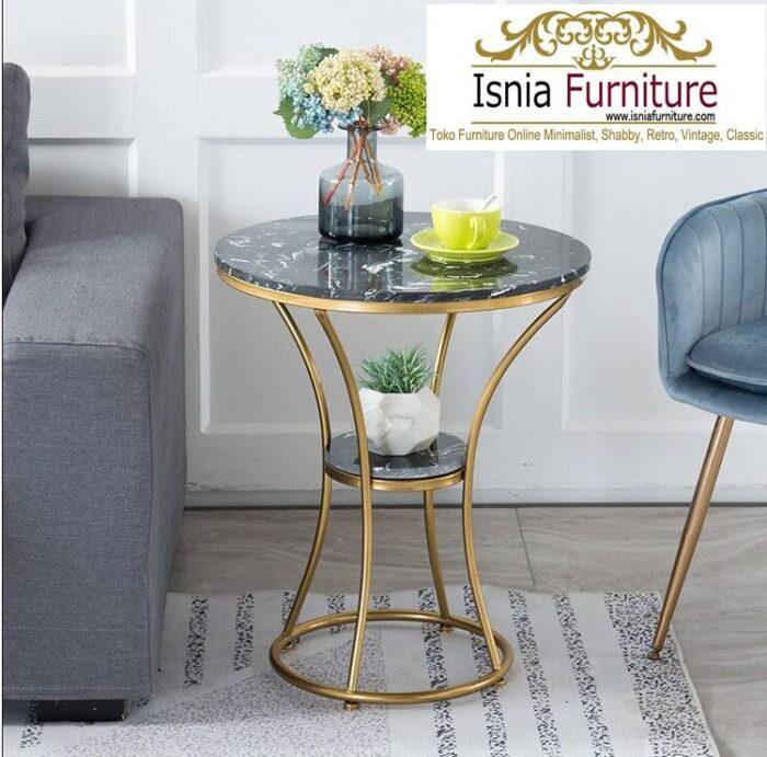 meja-sudut-marmer-hitam-desain-kaki-besi-stainless-700x691 Jual Meja Sudut Marmer Modern Terlaris Harga Terjangkau