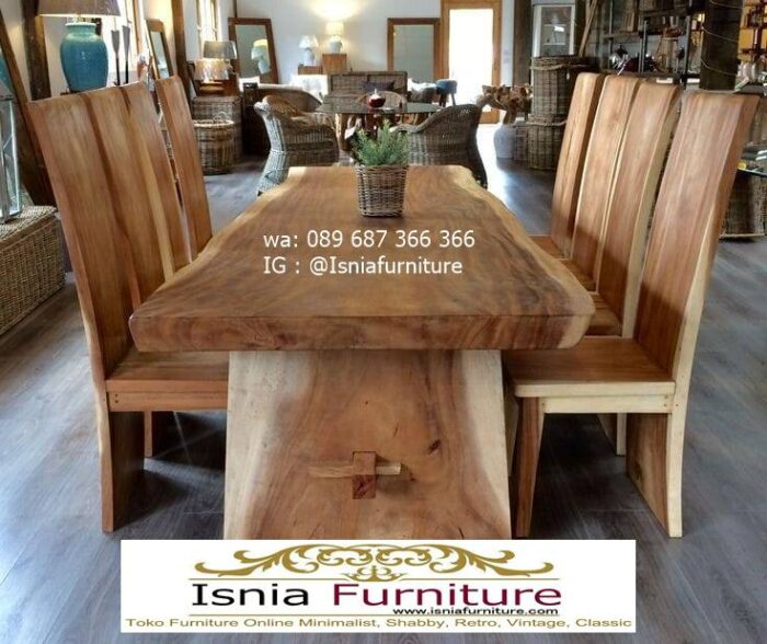 meja-kayu-besar-untuk-meja-makan-kayu-trembesi-solid-desain-6-kursi-700x588 Jual Meja Trembesi Besar Minimalis Solid Kualitas Terbaik
