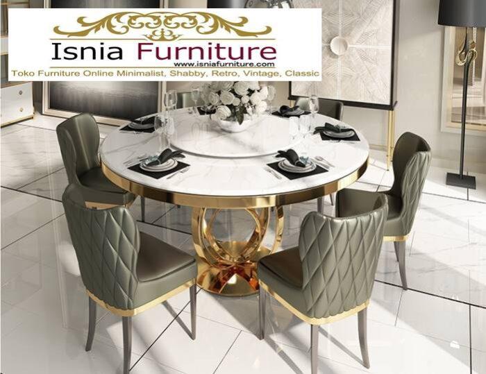 meja-makan-marmer-kaki-stainless-gold-bentuk-bulat-minimalis-700x539 Jual Meja Makan Marmer Kaki Stainless Gold Harga Murah Terlaris
