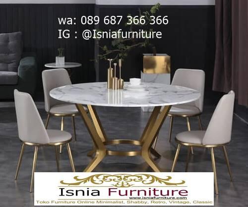 meja-makan-marmer-kaki-stainless-gold-bentuk-bulat-minimalis-mewah Jual Meja Makan Marmer Kaki Stainless Gold Harga Murah Terlaris
