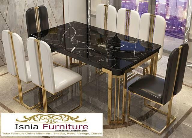 meja-makan-marmer-kaki-stainless-gold-desain-marmer-hitam Jual Meja Makan Marmer Kaki Stainless Gold Harga Murah Terlaris