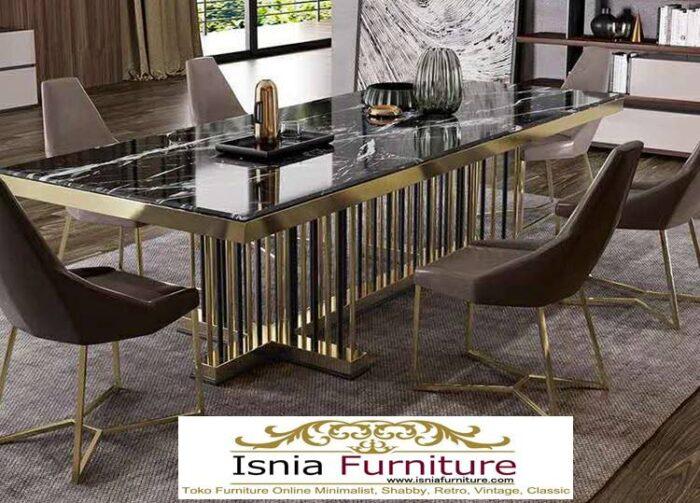meja-makan-marmer-kaki-stainless-gold-kekinian-jenis-marmer-hitam-700x503 Jual Meja Makan Marmer Kaki Stainless Gold Harga Murah Terlaris