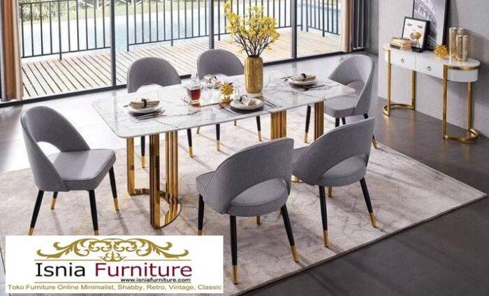 meja-makan-marmer-kaki-stainless-gold-mewah-700x424 Jual Meja Makan Marmer Kaki Stainless Gold Harga Murah Terlaris